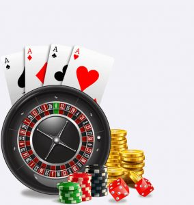 Four aces, casino chips, roulette, coins and dice.