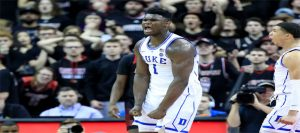 Zion Williamson giving a battle cry.