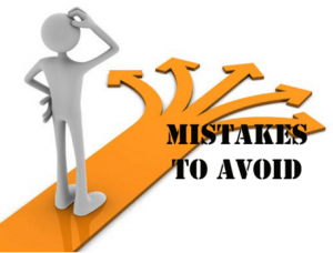 A human figure on a path with text that says mistakes to avoid