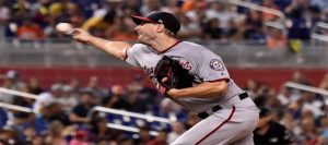 Max Scherzer throwing a pitch.