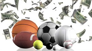 Several sports balls on a background of raining money