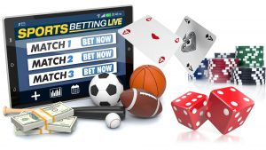 An assortment of sports balls, casino chips, dice, money and a mobile device